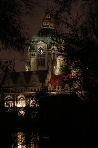 Neues Rathaus Hannover bei Nacht