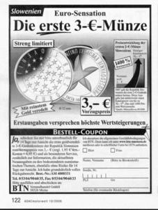 Inflation? Die erste 3-EURO-Mnze