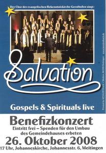 Gospelkonzert 'Salvation' am 26.10.08 um 17 Uhr in der Meitinger Johanneskirche