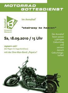Motorradgottesdienst stairway to heaven Augsburg, Annahof.