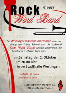 Rock meets Windband am 2.Oktober in der Stadthalle