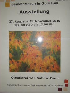 Ausstellung: lmalerei von Sabine Breit,  im Seniorenzentrum Gloria Park , in Lehrte.