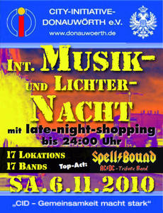 Musik- und Lichternacht mit Late-Night-Shopping am 6. November in Donauwörth