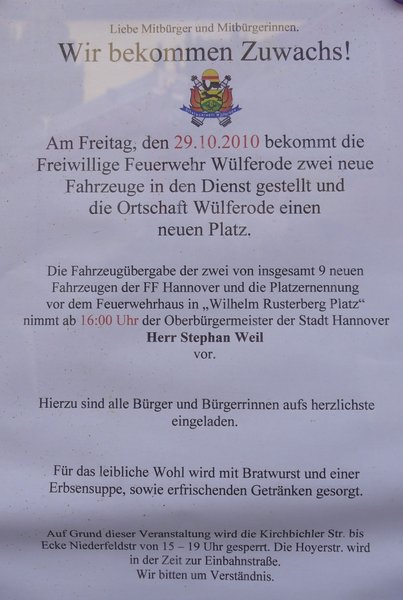Einladung der FF Wlferode