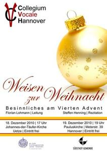 Chorgesang vom Feinsten: Weihnachtliche Weisen vom Collegium Vocale Hannover
