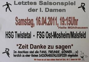 HSG Twistetal - Damen I: Letztes Saisonspiel mit Abschlussfeier