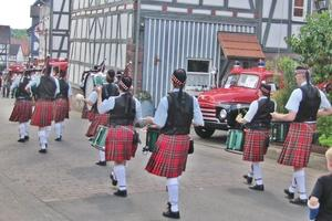 Sie sorgten musikalisch für gute Stimmung 'The First Guards of St. Kilian Pipe and Drum Band'.