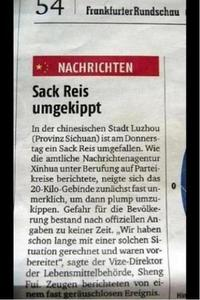 Sack Reis umgefallen - 20 Kilo Reis gefhrdeten Bevlkerung