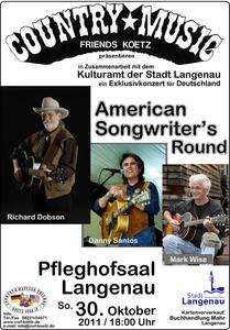 American Songwriter Night im Pfleghofsaal Langenau am 30. Oktober