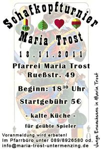 Schafkopfturnier in Maria Trost am 18. November 2011 um 18:30 Uhr
