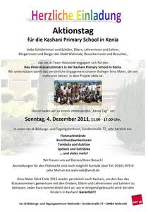 Aktionstag für die Kashani Primary School in Kenia