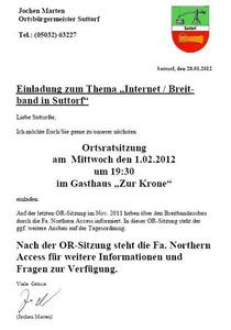 "Thema ""Internet / Breitband in Suttorf"""