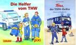 Links: Das Pixi-Heft 'Die Helfer vom THW'. Rechts: Das Kinderbuch 'Tom der THW-Helfer - Einsatz in Frankreich'