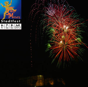3TM - Hhenfeuerwerk auf dem Marburger Landgrafenschlo am 06.07.2012 - 23:00 Uhr.