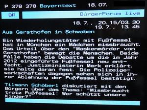 TV - Hinweis: Brgerforum des BR um 20:15 'Missbraucht trotz Fufessel. Wer schtzt unsere Kinder?'