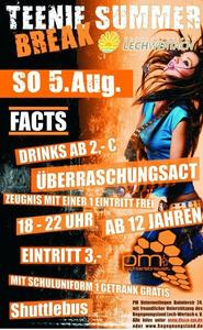 Die ultimative Teenie Summer Break Party im PM Untermeitingen am 5.August !