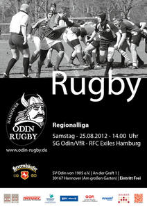 Rugby-Saisonauftakt SG Odin/VfR gegen RFC Exiles Hamburg 25.8. um 14 Uhr