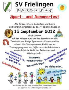 Sport- und Sommerfest des SV Frielingen am 15.09.2012 ab 15:00 Uhr