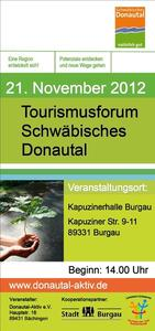 Drittes Tourismusforum Schwbisches Donautal am 21. November in der Burgauer Kapuzinerhalle