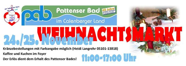 Weihnachts- und Krnzemarkt im Pattenser Bad am 24./25. November