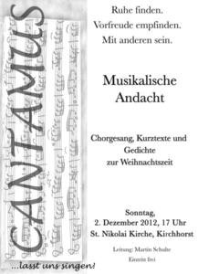 Musikalische Andacht mit CANTAMUS am 1. Advent