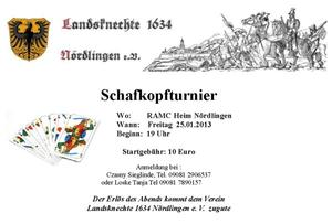 Schafkopfturnier bei den Landsknechten 1634 Nrdlingen e.V.