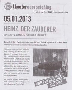 Theater Oberpeiching prsentiert im Januar 2013 'Heinz der Zauberer'