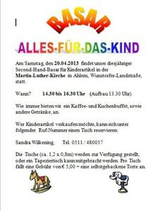 'Alles für das Kind Basar' am 20. April 2013 in Ahlem
