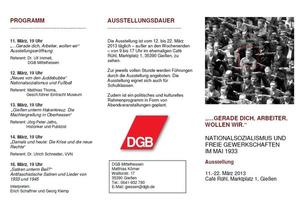 Nationalsozialismus und freie Gewerkschaften - DGB zeigt Ausstellung im Caf Rhl in Gieen