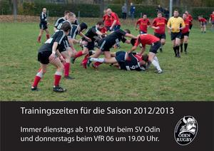 Rugbytraining auch fr Anfnger am Dienstag 26.3.13 um 19.00 Uhr Platz SV Odin