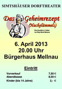 """Das Geheimrezept"" am 6. April in Mellnau"