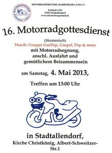 Motorradfahrer erbitten Gottes Segen fr die Saison 2013