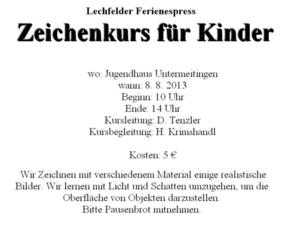 Zeichenkurs fr Kinder beim Lechfelder Ferienexpress