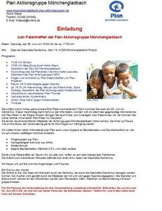 Patentreffen des Kinderhilfswerkes Plan International in Mönchengladbach