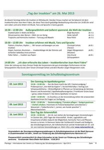 So, 26. Mai 2013, im Schulbiologiezentrum: 10:30 - 12:00 Uhr, 'Insektentag', 14:00 Performance Fabre