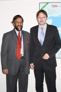 Dr. Hans Reichhart mit Herrn Friedensnobelpreisträger Dr. Rajendra Pachauri, Leiter des The Energy and Resources Institutes (TERI)