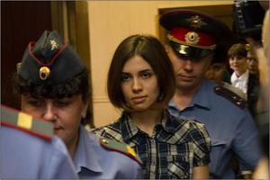 Nadezhda Tolokonnikova (Pussy Riot) at the Moscow Tagansky District Court