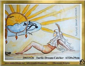 A20013126 Turtle Dream Catcher - Traumfanger - gemalt auf der Reise 2003 quer durch Kanada