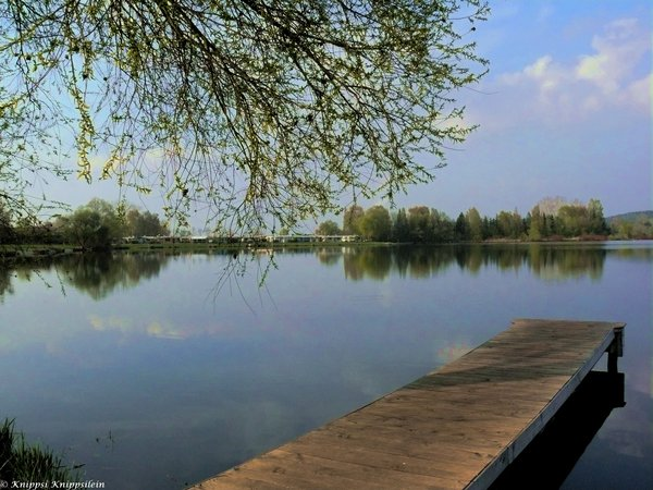 see, idylle, silbersee, ufer