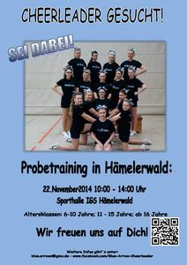 Öffentliches Probetraining der Blue Arrow Cheerleader