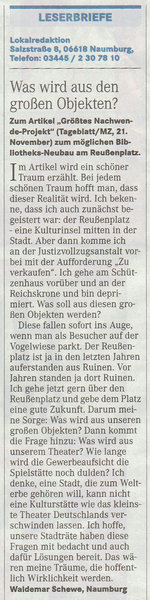 Quelle: Naumburger Tageblatt, 27. November 2014