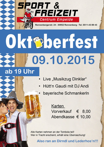 oktoberfest in empelde ronnenberg. Black Bedroom Furniture Sets. Home Design Ideas