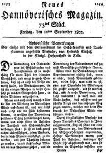 Neues Hannöverisches Magazin vom 10. September 1802.
