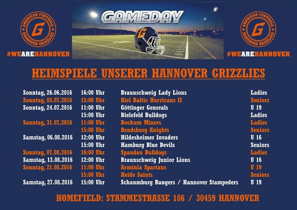 Hannover Grizzlies GAMEDAYS 2016