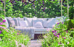 Image of romantic garden seating.