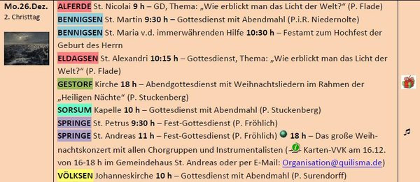 Der 26.12.2016 (2. Christtag) in der Kirchenregion Springe