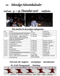 Lebendiger Adventskalender in Schulenburg