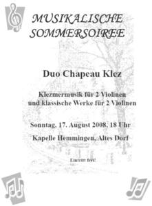 2. Teil der Sommersoiree in der Hemminger Kapelle 17. August 18 Uhr