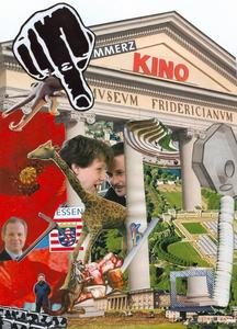 Collage aus dem vierten documenta-Buch: mit Museum Fridericianum, Luftpaket Christos, Spitzhacke Oldenburgs, Staatsminister CORTS (untätig), Buergel/Noack, Ai Wei Wei, Basbaum-Wanne, Aue-Kristallpalast, Giraffe 'Brownie', Stinkefinger u.a.m..