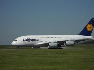 Lufthansa Airbus A 380 - welcome to Hanover